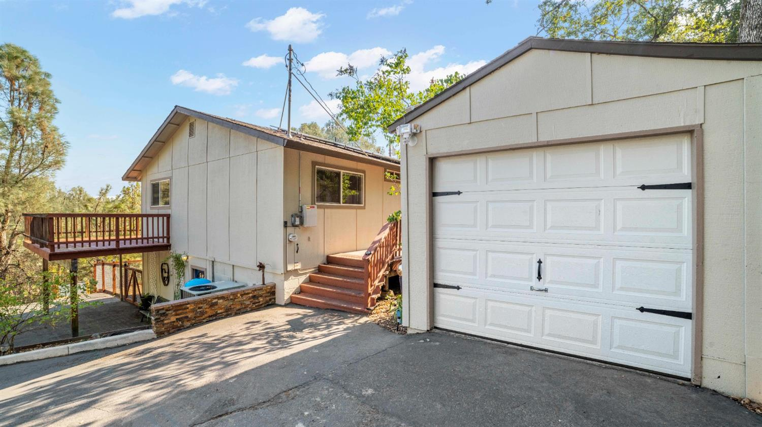Feel at home in this move-in ready, all electric house in the heart of El Dorado. Escape the high bills from PG&E with owned solar and enjoy the pine filled skyline off the back deck. Outside is a fully fenced, freshly graded back yard with plenty of untapped potential. Inside you'll find newer upgrades and a kitchen boasting stainless steel appliances. Just minutes from Highway 50, you'll be able to commute to Sacramento or Tahoe with ease. You can also stay local and visit places like Apple Hill, Red Hawk Casino or Downtown Placerville with an easy drive inside of 20 minutes. Just a stones throw from great schools, shopping, and the newer portion of the El Dorado Trail System, leaves this house in the perfect location. Definitely a home you will not want to miss!